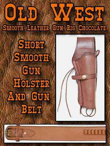 Billy The Kid Style  Chocolate Old West Smooth Leather Gun Rig- Holster And Gunbelt