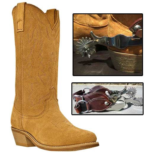 Best Seller! Retro Suede Spaghetti Western Cowboy Boots And Spurs