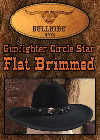 Gunfighter Star Studded Shapeable Flat Brim 4X Wool Hat -