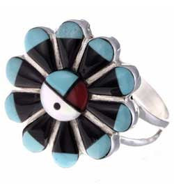 Inlaid Turquoise Sunface Ladies Zuni Made  Sterling Silver Ring