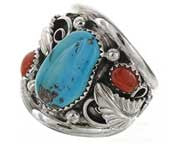 Best Seller! Navajo Made Three Stone Turquoise And Red Coral Mens Ring