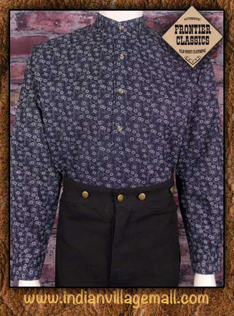 Frontier Classics Old West Tex Print Shirt - Navy Print