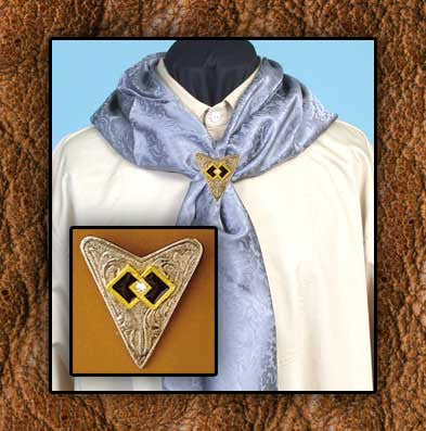 14Kt Gold Plated Triangle Cowboy  Scarf Slide - Matching Collar Tips