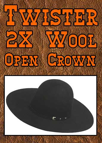 Twister 2X Wool Old West Open Crown Hat