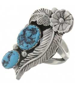 Best Seller! Natural Turquoise Two Stone Sterling Silver Ladies Ring -Navajo Made