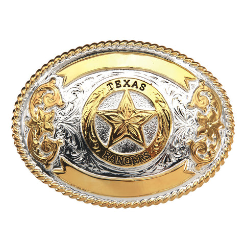 And West Texas Rangers Gold And Silver Plated Buckle