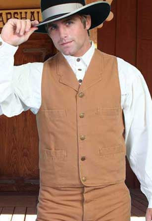 Wanted Dead Or Alive Style Scully Old West  Notched Lapel Canvas Vest - Five Colors