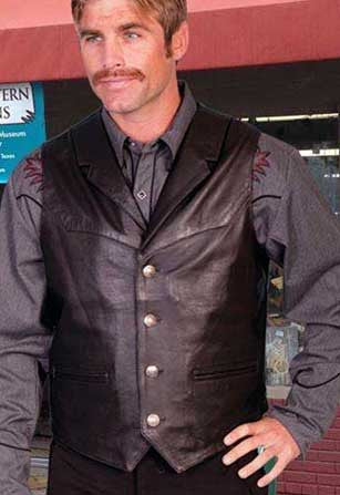 Scully  Soft Lambskin Lapel Old West Vest - Black