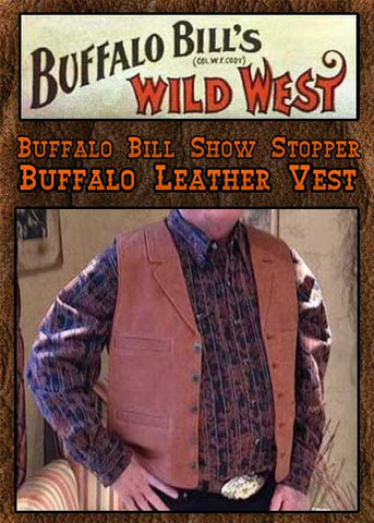Buffalo Bill Show Stopper Genuine Buffalo Leather Western Cowboy Vest- Four Colors