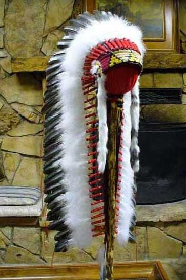 WB-3 Long Handcrafted Trailer Feathered Headdress War Bonnet  By Laughing Eagle