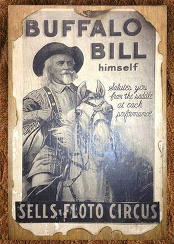 Woodbacked And Antiqued Buffalo Bill Poster