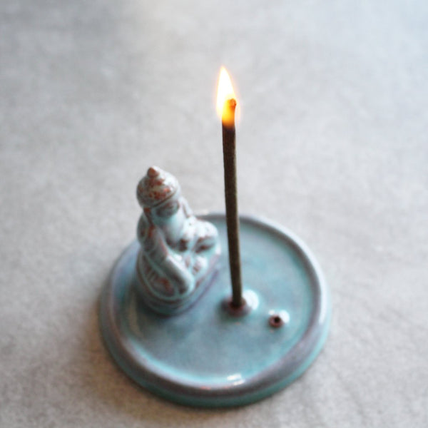 Turquoise Ceramic Buddha Incense Holder