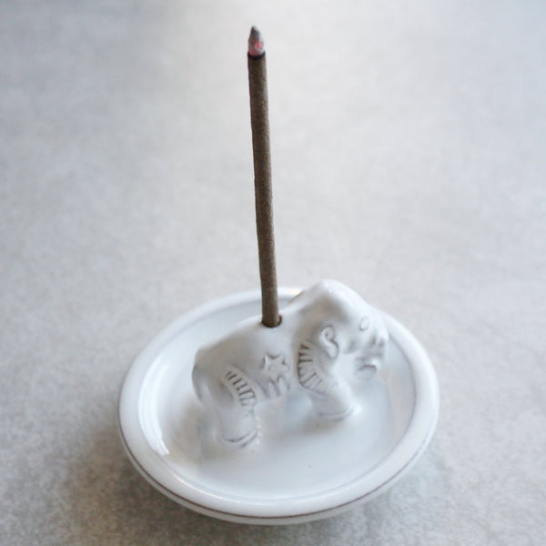 White Ceramic Elephant Incense Holder