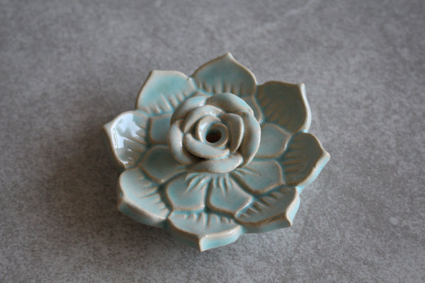Mint Ceramic Lotus Incense Holder