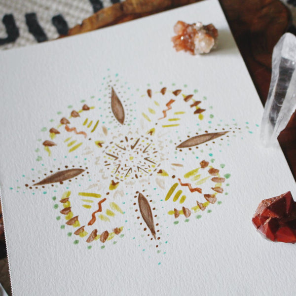 Ceylon Cinnamon Watercolor Mandala ORIGINAL