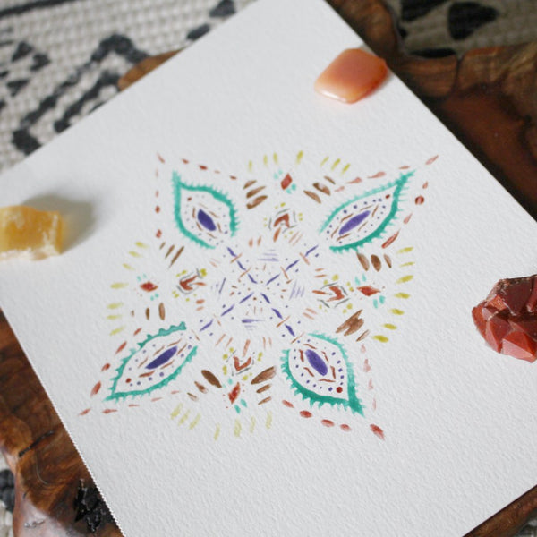 Sweet Leaf Watercolor Mandala ORIGINAL