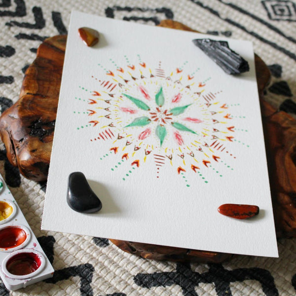 Cherry Street Watercolor Mandala ORIGINAL