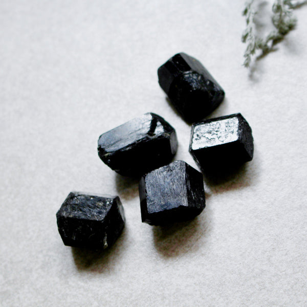 Half Polished Black Tourmaline Stone
