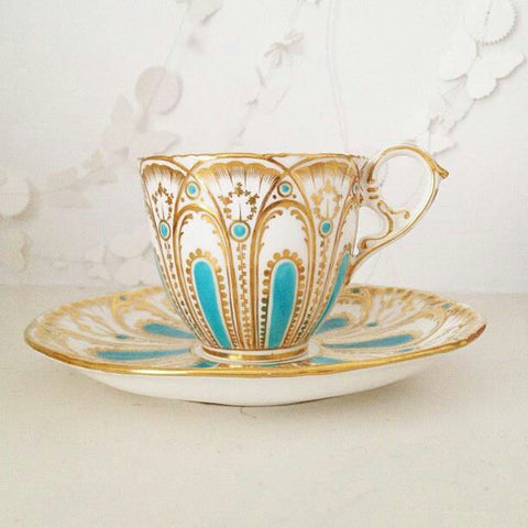 Aquamarine Gold Lined Teacup