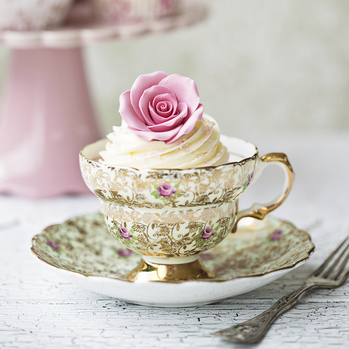 Engraved Roses Teacup
