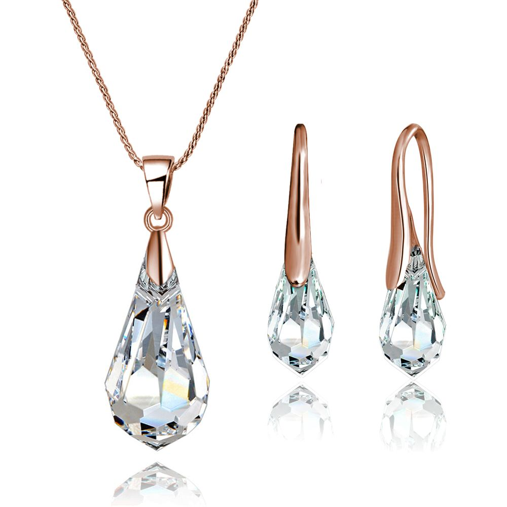 Crystal Drop Set In Rose Gold