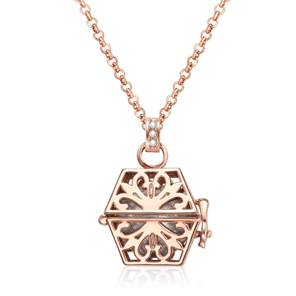 Rose Gold Laced Box Necklace
