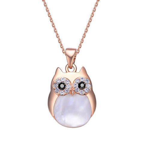 Rose Gold Professor Owl Charm Necklace