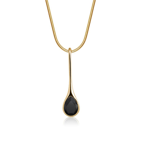 Black Iris Necklace in Gold