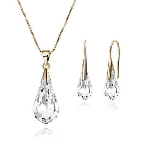 Crystal Drop Set In Gold