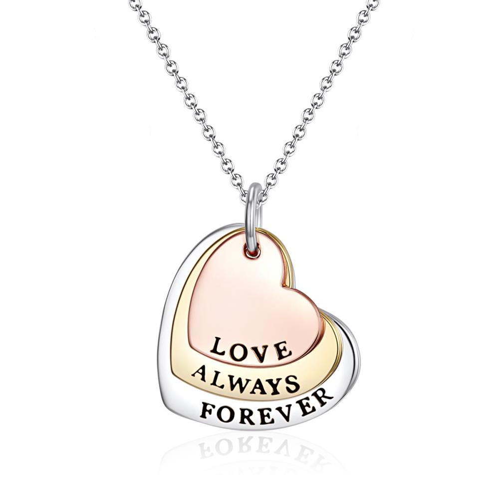 Love Always Forever Necklace In Tri-Colour