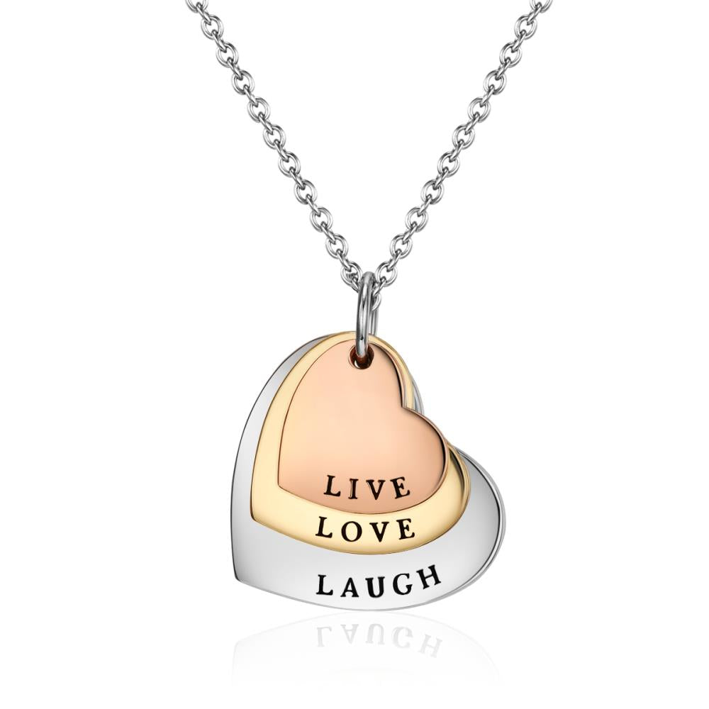 Live Love Laugh Heart Trio Necklace