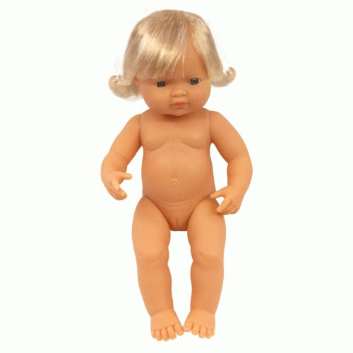 Miniland Doll Caucasian Girl 38cm UNDRESSED