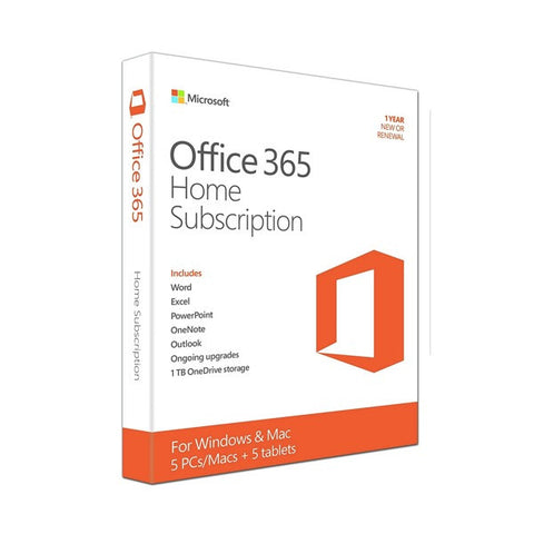 Microsoft Office 365 (PC/Mac) Home Retail Box Medialess 1 Year License