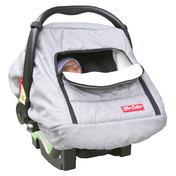 Cub Cave Quilted Plush Fleece Infant Carseat Canopy - Soft Grey