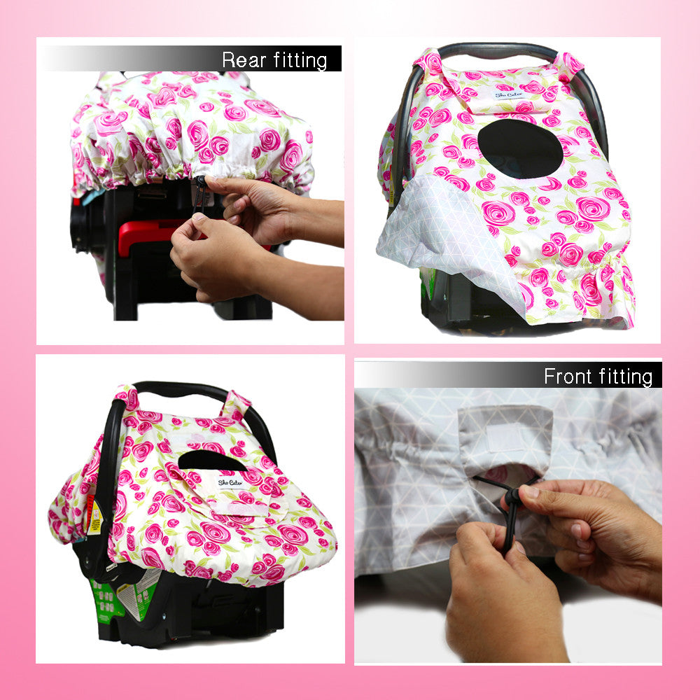 Groovy Baby Carseat Canopy Cover Reversible Rose Lux Creativecarmelina Interior Chair Design Creativecarmelinacom