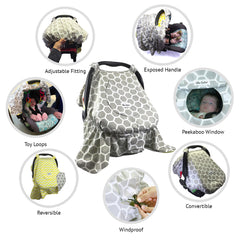 BABY CARSEAT CANOPY COVER [REVERSIBLE] - HONEYCOMB