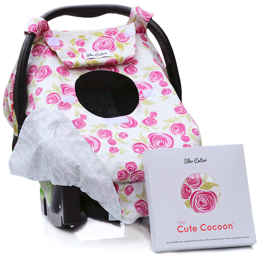Baby Carseat Canopy Cover Reversible Rose Lux