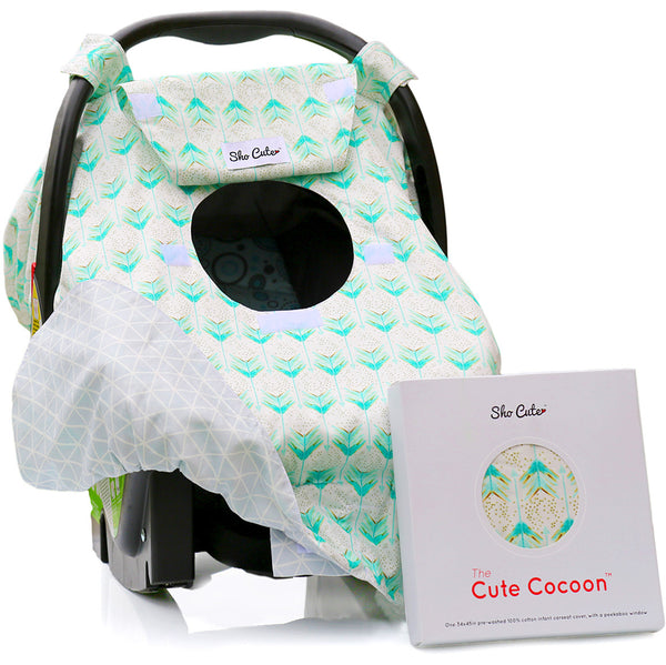 BABY CARSEAT CANOPY COVER [REVERSIBLE]  - Mint Arrows