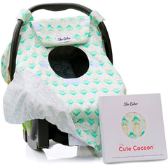 BABY CARSEAT CANOPY COVER [REVERSIBLE]  - Rose Lux - Mint Arrows