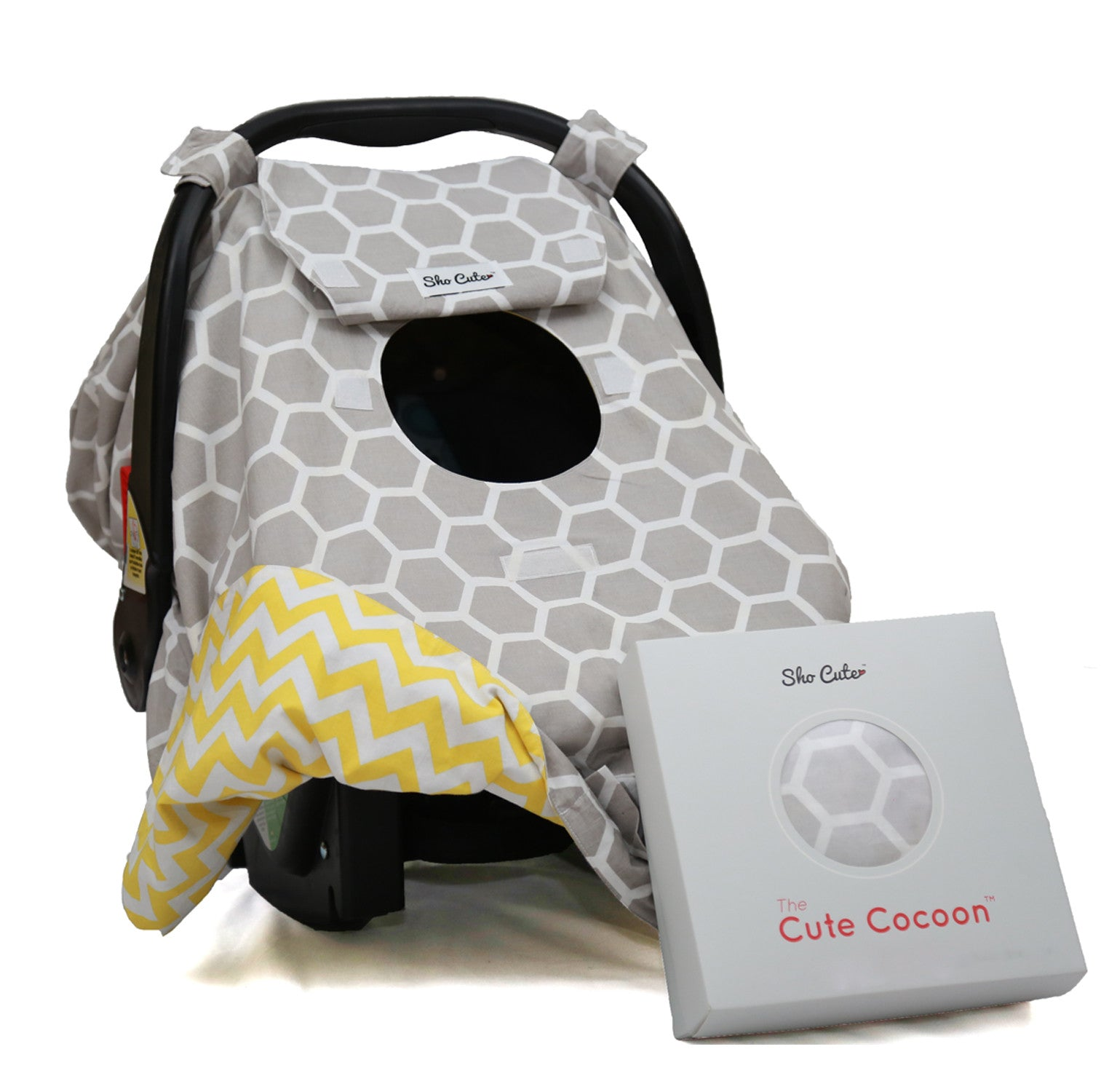 Baby Carseat Canopy Cover Reversible Unisex Gray Honeycomb