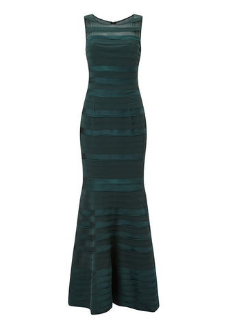 Phase Eight Shannon Layered Full Length Dress, Emerald