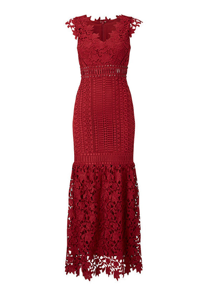 Phase Eight Shannon Layered Full Length Dress, Scarlet