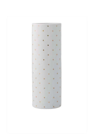 Bloomingville Vase, White w/ Gold