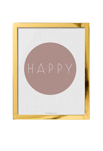 Bloomingville Happy Wall Decor w/ Gold Frame