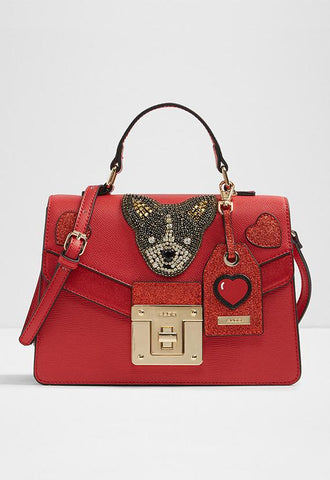 ALDO CHAPPINI Dog Patch Crossbody Top Handle Bag, Red