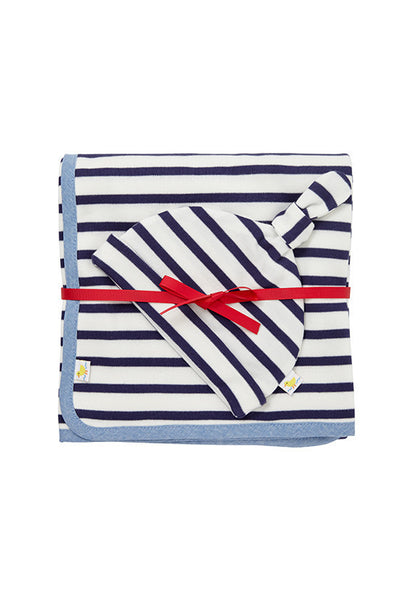 John Lewis Baby Blanket & Hat Set, Navy