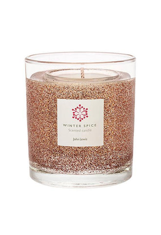 John Lewis Medium Copper Glitter Gel Candle