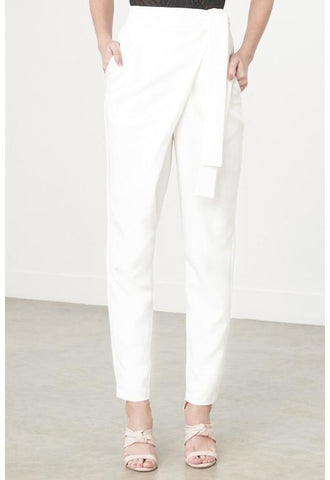 Lavish Alice Wrap-Front Crop Trousers, White