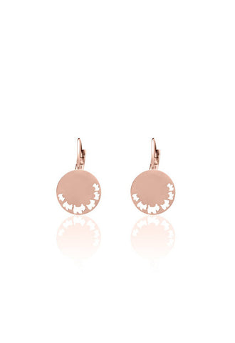 Agatha Disc Earring With Cut-Out Dogs, Rose Gold