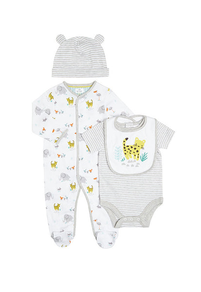 John Lewis Baby Elephant Sleepsuit, Bodysuit, Bib and Hat Set